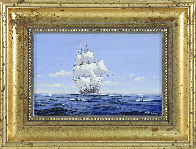 FRAMED PAINTING The H.M.S. Bounty under full sail. Signed lower right