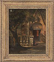 ITALIAN SCHOOL, Circa 1860, A monastery courtyard., Oil on canvas, 14