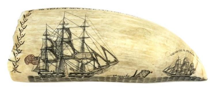 "POLYCHROME SCRIMSHAW WHALE'S TOOTH BY EDWARD BURDETT Inscribed on lower edge ""Engraved, By. Edward Burdett. Of Nantucket. Onboard Of.."