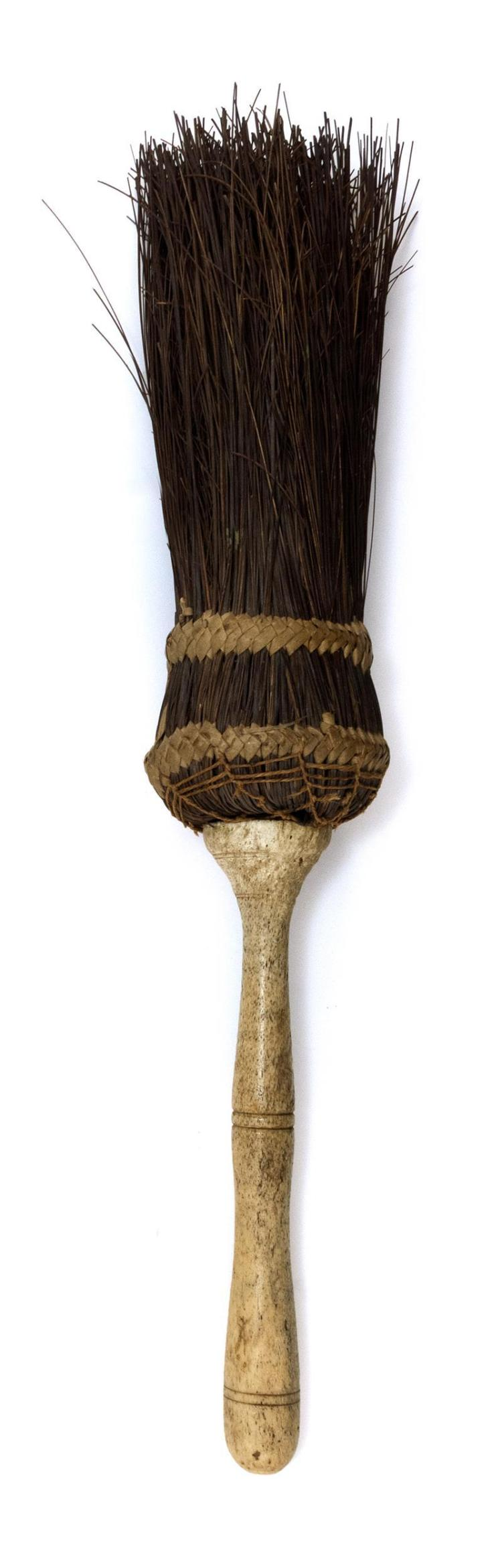 RARE WHALEMAN-MADE BROOM Turned and slightly serpentine handle with numerous incised lines. Natural bristles bound in entwined ratta...