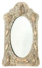NAPOLEONIC PRISONER-OF-WAR MIRROR Wooden frame entirely covered by rectangular and leaf-form bone appliqués. Further decorated with...