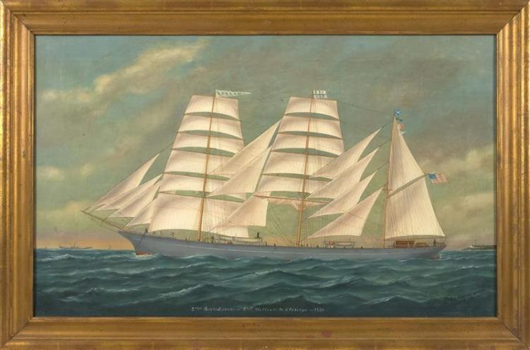 "EDOUARD ADAM I, French, 1847-1929, ""3 Mast Bark -- Lodore -- Capt. William M. Eldridge -- 1889""., Oil on canvas, 22"" x 36"". Framed 2..."