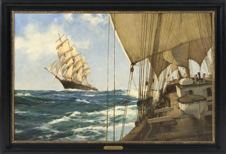 "MONTAGUE J. DAWSON, English, 1895-1973, ""Ships That Pass""., Oil on canvas, 28.25"" x 42"". Framed 33.5"" x 47.5""."