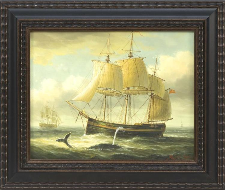 "JAMES HARDY, British, Contemporary, Three-masted sailing ship with a whale off her bow., Oil on artist panel, 8"" x 10"". Framed 11"" x..."