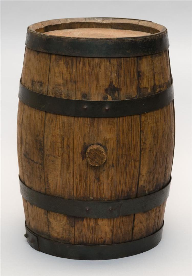 Oak water cask retains original metal strapping and wooden b