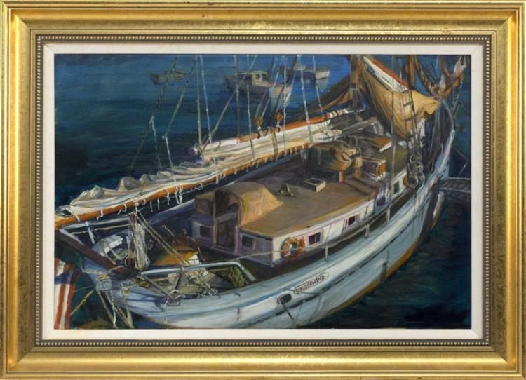 SELMA ALDEN, Cape Cod, Contemporary, Schooner Timber Wind at dock., Oil on canvas, 20
