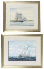 """JOHN FAUNCE LEAVITT, Massachusetts/Connecticut, 1905-1974, Two works:, Watercolors on paper, 11.5"""" x 16"""" and 10"""" x 13.5"""" sight. Larg..."""