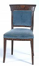 ANTIQUE MARQUETRY SIDE CHAIR Appears to be in walnut. Blue velvet upholstery.