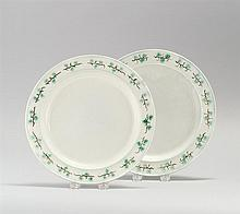 PAIR OF LEEDS SOFT PASTE PLATES With green and brown molded shamrock designs to edges. Diameters 10.25