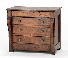 ANTIQUE AMERICAN EMPIRE MINIATURE CHEST OF DRAWERS In mahogany with sleigh front and four full-width drawers. Height 13.25