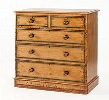 ENGLISH CHEST OF DRAWERS In pine under a grain-painted finish with decorative banding simulating green malachite. Two half-drawers o...
