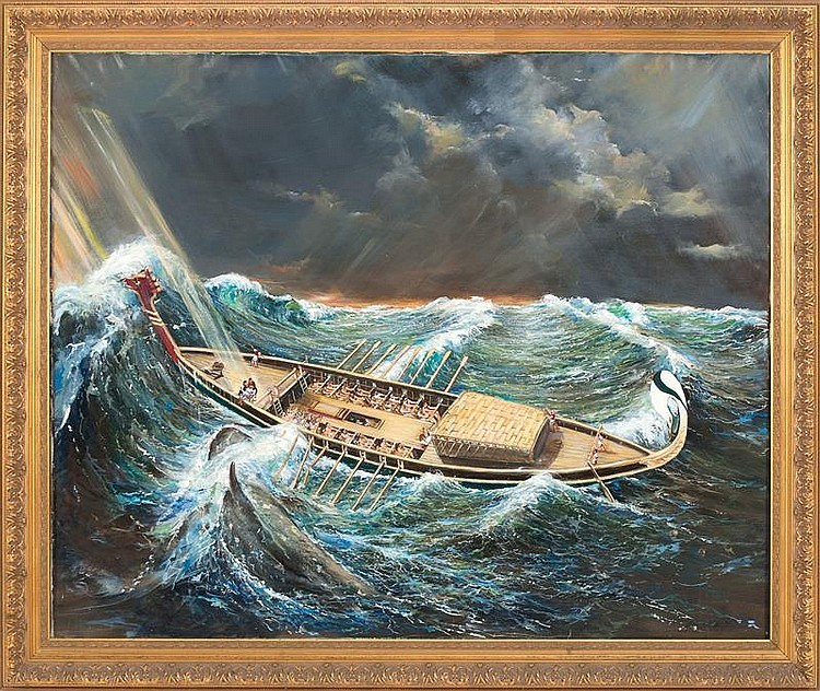 KEN HERWITZ, American, 1926-2003, A whaling scene with ancient ship in heavy seas., Oil on canvas, 40