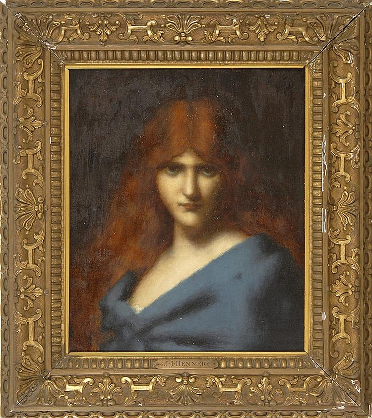 ATTRIBUTED TO JEAN-JACQUES HENNER, French, 1829-1905, Portrait of a red-headed woman, Oil on panel, 18