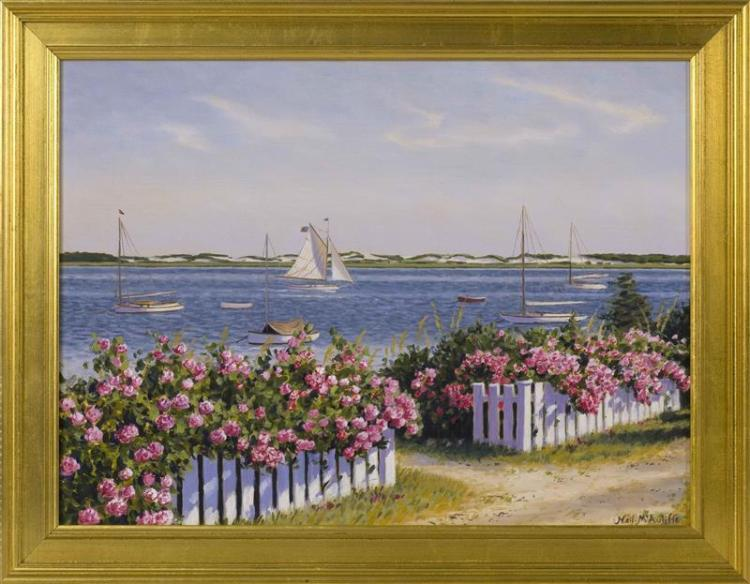 NEIL MCAULIFFE, Massachusetts, Contemporary, Rose-covered picket fence along a Cape Cod harbor filled with catboats., Oil on canvas,...
