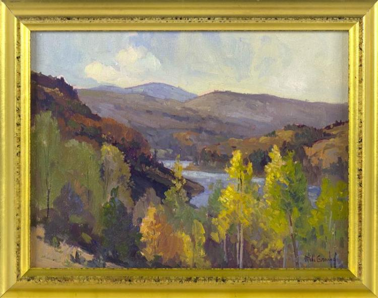 "MICHAEL GRAVES, Massachusetts, b. 1952, ""Light in the Valley""., Oil on board, 9"" x 12"". Framed 11"" x 13""."