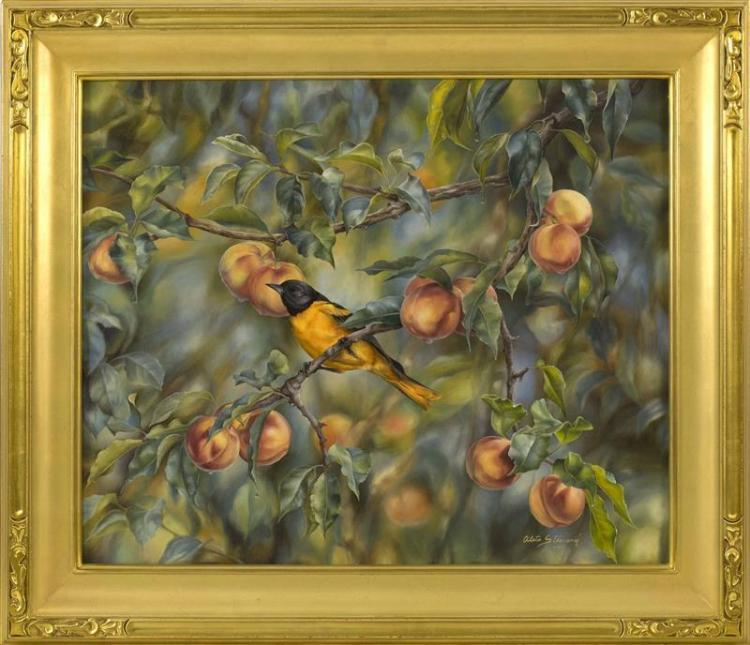 "ALETA ROSSI STEWARD, Cape Cod, Contemporary, ""An Oriole in the Orchard""., Oil on canvas, 20"" x 24"". Framed 26"" x 30""."