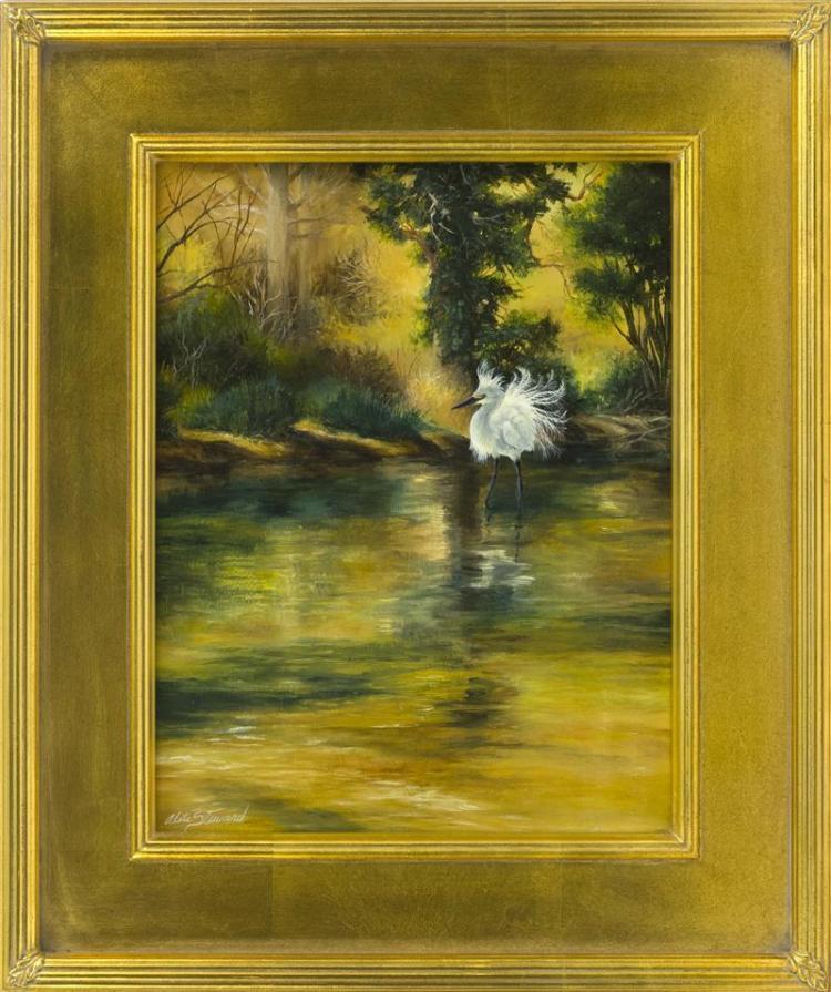 "ALETA ROSSI STEWARD, Cape Cod, Contemporary, ""Golden Light"" (Snowy Egret)., Oil on panel, 14"" x 11"". Framed 20"" x 16""."