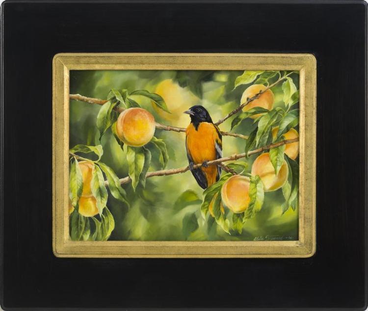 "ALETA ROSSI STEWARD, Cape Cod, Contemporary, ""Oriole and Peaches""., Oil on panel, 12"" x 16"". Framed 20.5"" x 24""."