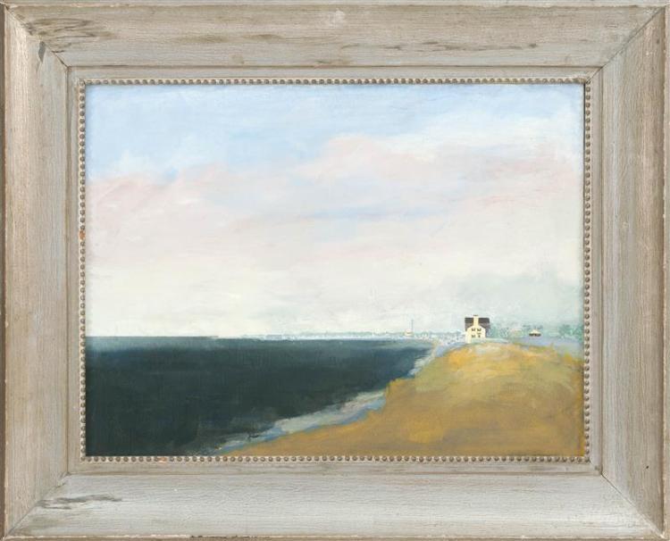 "ARTHUR COHEN, New York, 1928-2012, ""Provincetown""., Oil on canvas, 18"" x 24"". Framed 27"" x 31""."