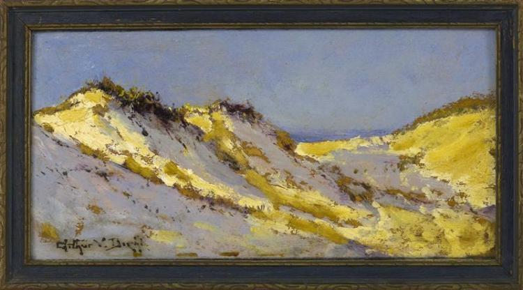 "ARTHUR VIDAL DIEHL, Massachusetts, 1870-1929, Provincetown dunes., Oil on board, 6"" x 12"". Framed 7.25"" x 13.25""."
