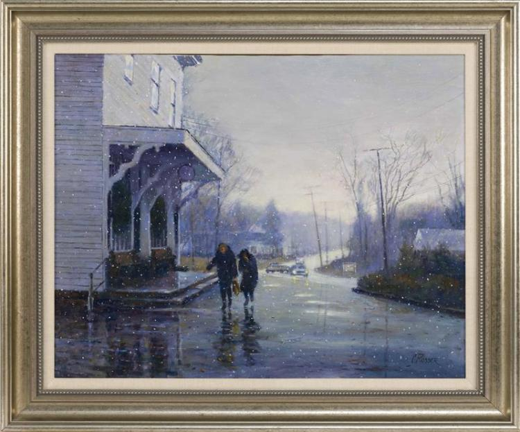 "CURTIS ROSSER, Massachusetts, 1927-2005, Brewster General Store, Winter., Acrylic on canvas, 24"" x 30"". Framed 37"" x 31""."