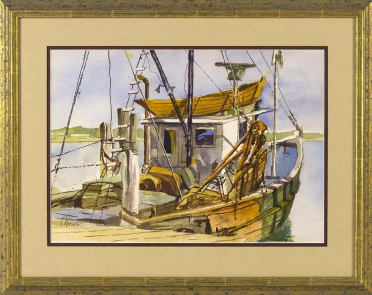 """CURTIS ROSSER, Massachusetts, 1927-2005, The old fishing boat., Watercolor on paper, 14"""" x 19"""" sight. Framed."""