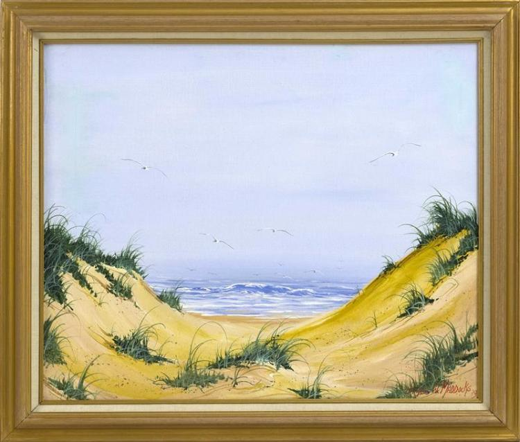 "JAMES MADDOCKS, Massachusetts, Contemporary, Dunescape., Oil on canvas, 20"" x 24"". Framed 24"" x 28""."