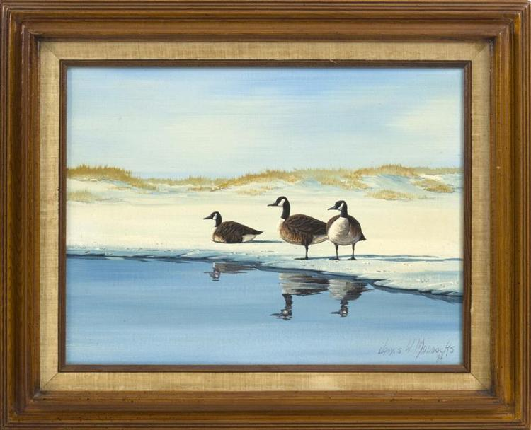 "JAMES MADDOCKS, Massachusetts, Contemporary, Three Canada geese at the water's edge., Oil on canvas, 12"" x 16"". Framed."