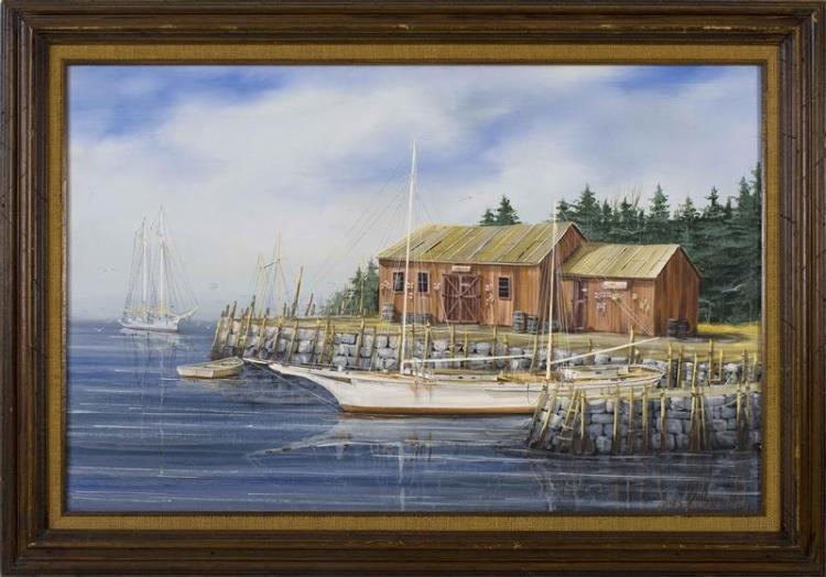 "JAMES MADDOCKS, Massachusetts, Contemporary, Coastal scene with sailboats and boathouse., Oil on canvas, 24"" x 36"". Framed 30"" x 43""."