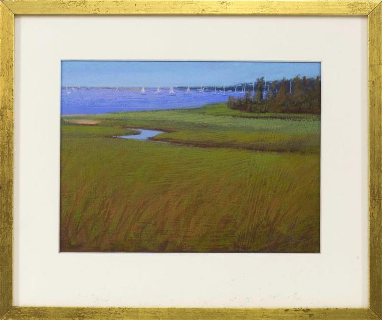 "JANE LINCOLN, Massachusetts, Contemporary, ""Saturday Sails""., Pastel, 8"" x 11"". Framed 13"" x 15""."
