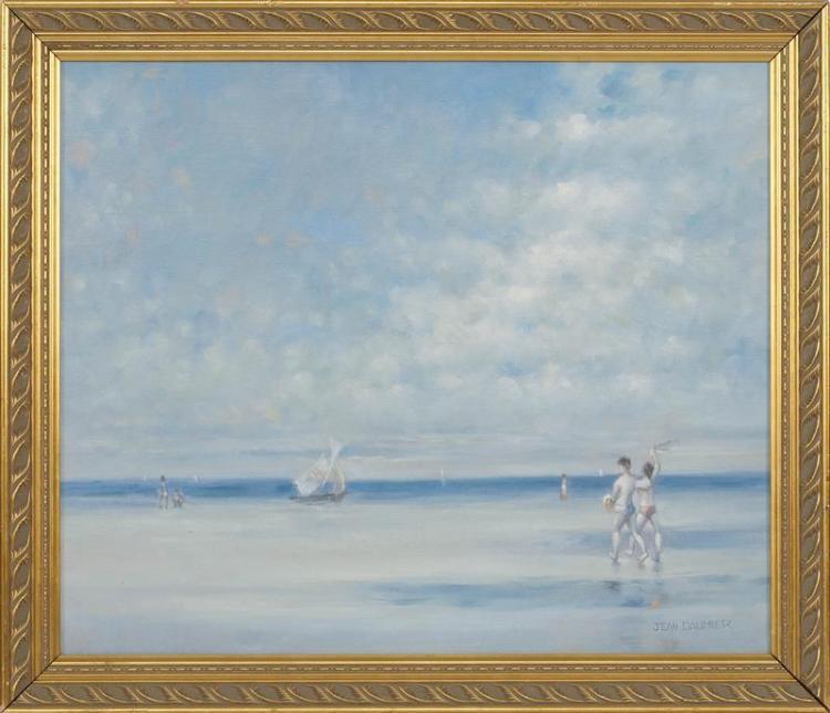 "JEAN DAUMIER, French, b. 1948, A stroll on the beach., Oil on canvas, 20"" x 24"". Framed 23"" x 27""."