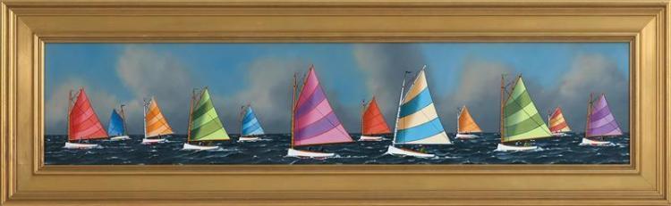 """JEROME HOWES, New York/Massachusetts/Vermont, b. 1955, The Rainbow Fleet., Oil on masonite, 8"""" x 36"""". Framed 12.5"""" x 41""""."""