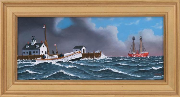 """JEROME HOWES, New York/Massachusetts/Vermont, b. 1955, """"Returning to Chatham""""., Oil on masonite, 6"""" x 14"""". Framed 9"""" x 17""""."""