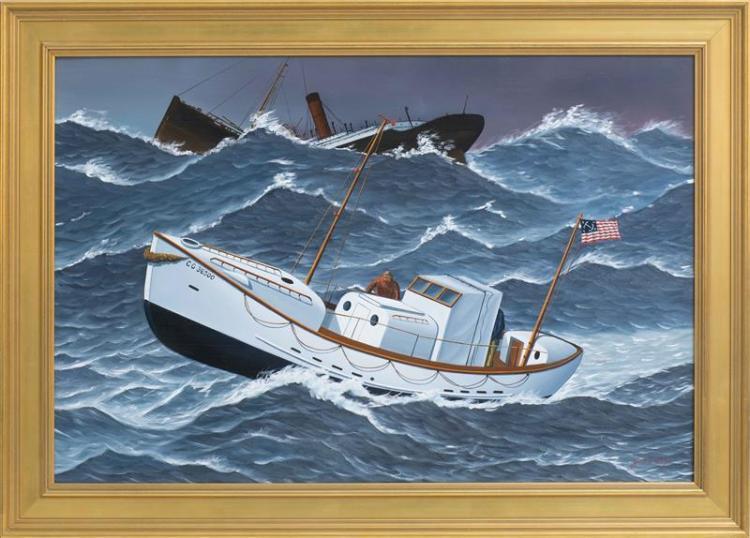 """JEROME HOWES, New York/Massachusetts/Vermont, b. 1955, The rescue of the Pendleton, Oil on masonite, 20"""" x 30.5"""". Framed 24.5"""" x 35""""."""