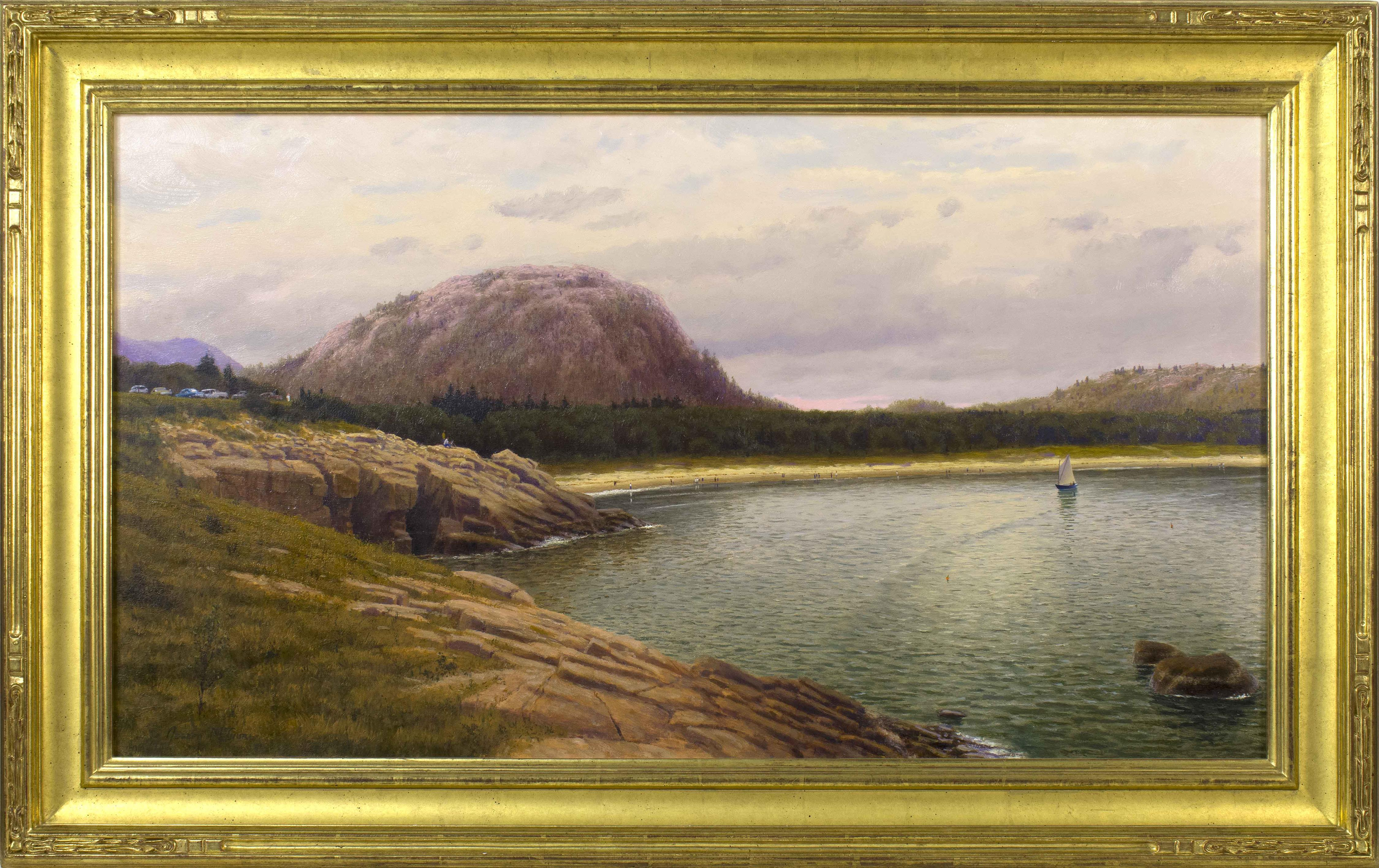 "JOSEPH MCGURL, Massachusetts, b. 1958, Sand Beach, Mount Desert Island, Maine., Oil on board, 20"" x 36"". Framed 26"" x 42.5""."