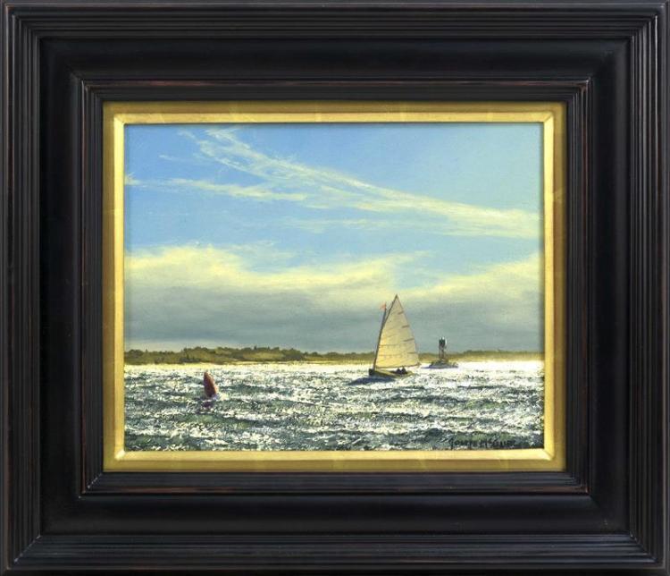 "JOSEPH MCGURL, Massachusetts, b. 1958, ""Woods Hole""., Oil on board, 11"" x 14"". Framed 18.5"" x 22""."