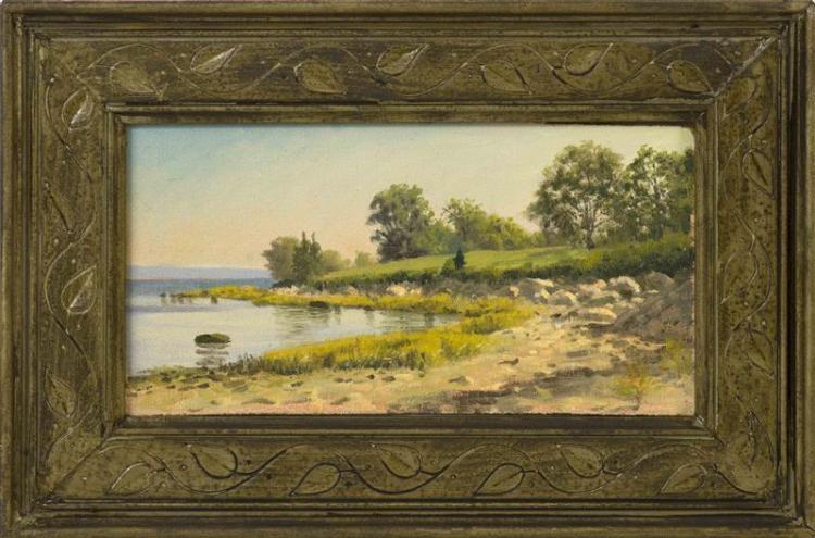 """JOSEPH MCGURL, Massachusetts, b. 1958, Study for the Stone Estate, Great Hall, Marion, Massachusetts., Oil on board, 6.5"""" x 12"""". Fra..."""