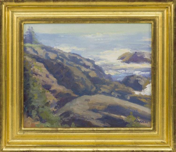 "PAMELA PINDELL, Massachusetts, b. 1950, ""Monhegan Looking East""., Oil on canvas board, 9"" x 11"". Framed 12.5"" x 15""."