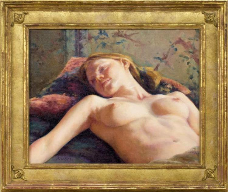 "PAMELA PINDELL, Massachusetts, b. 1950, ""Siobhain""., Oil on canvas, 16"" x 20"". Framed."