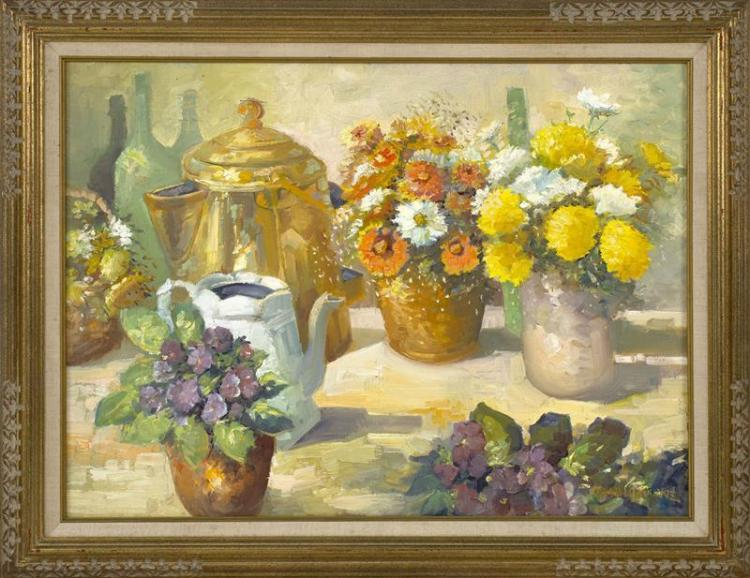 "RICHARD W. ROURKE, American, d. 1993, Floral still life., Oil on canvas, 18"" x 24"". Framed 23"" x 29""."