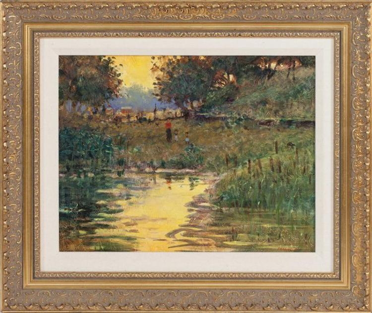 "TOM PERKINSON, New Mexico, 20th Century, ""Sunset Reflections""., Oil on canvas, 11"" x 14"". Framed 16"" x 19""."