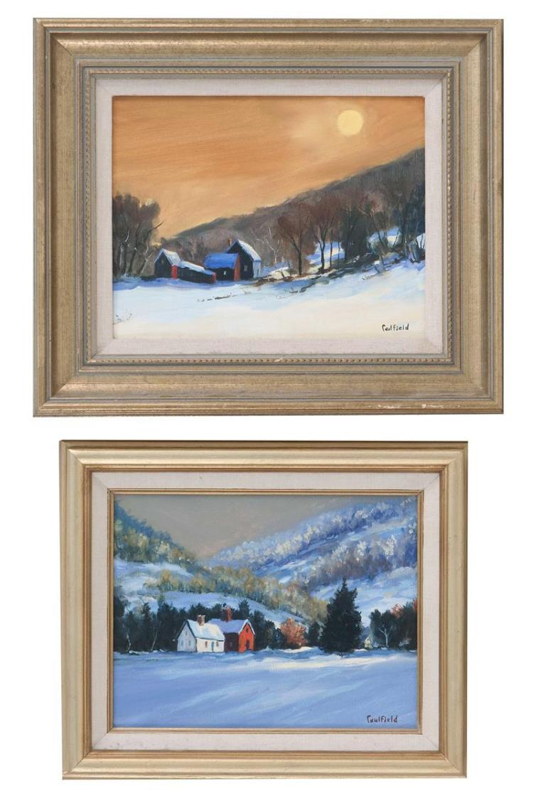"ROBERT O. CAULFIELD, Vermont, Contemporary, Pair of winter landscapes, possibly Vermont., Oils on canvas, 8"" x 10"". Framed 12.5"" x 1..."