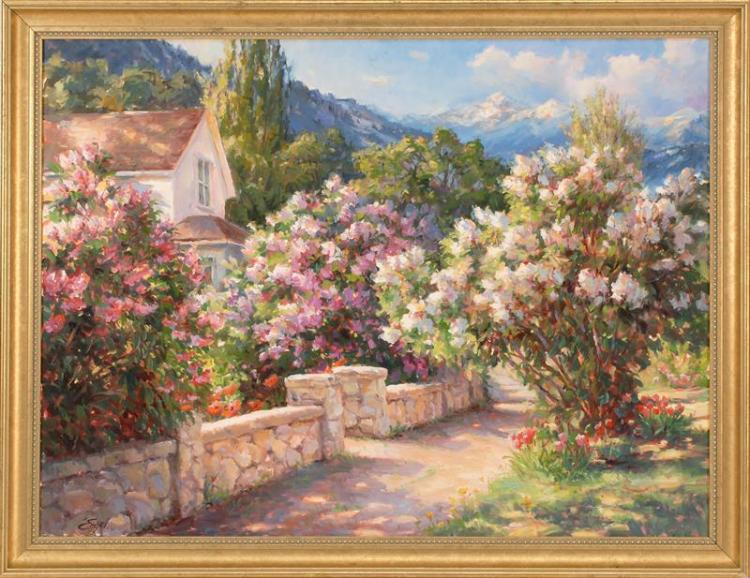 "SHARON ENGEL, Oregon, 20th Century, Flowering shrubs and stone wall, Oil on canvas, 30"" x 40"". Framed."