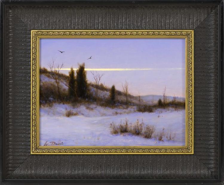 "WILLIAM R. DAVIS, Massachusetts, b. 1952, ""Beach Path, Winter, Eastham""., Oil on panel, 9"" x 12"". Framed 14.5"" x 17.5""."