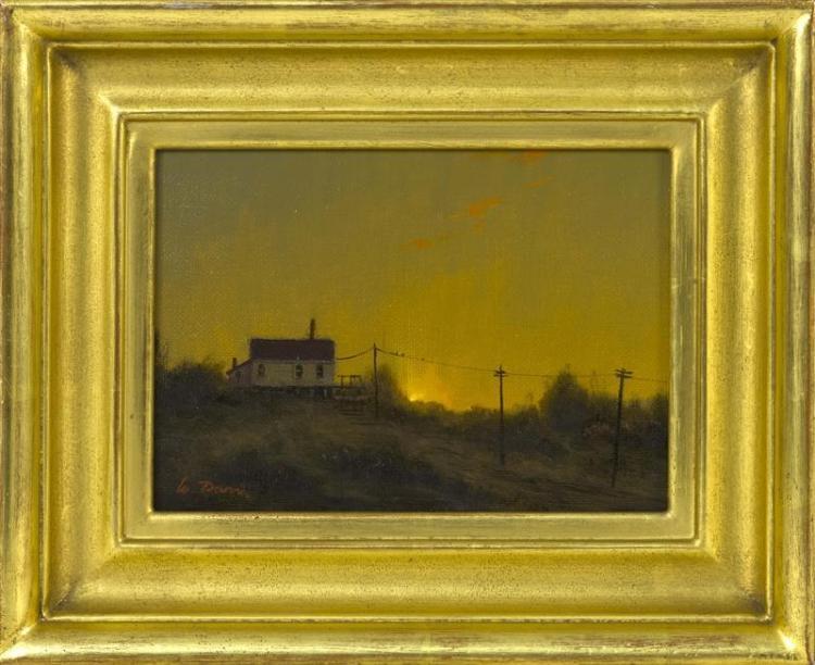 """WILLIAM R. DAVIS, Massachusetts, b. 1952, """"Dune Shack""""., Oil on canvas board, 5"""" x 7"""". Framed 8.25"""" x 10.25""""."""