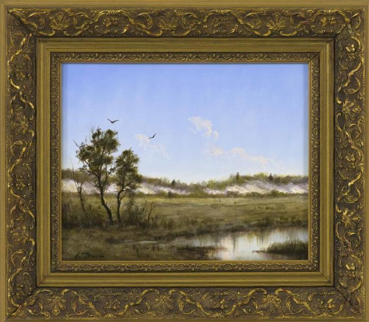 "WILLIAM R. DAVIS, Massachusetts, b. 1952, ""Barnstable Marsh Cape Cod""., Oil on board, 8"" x 10"". Framed 12"" x 14""."