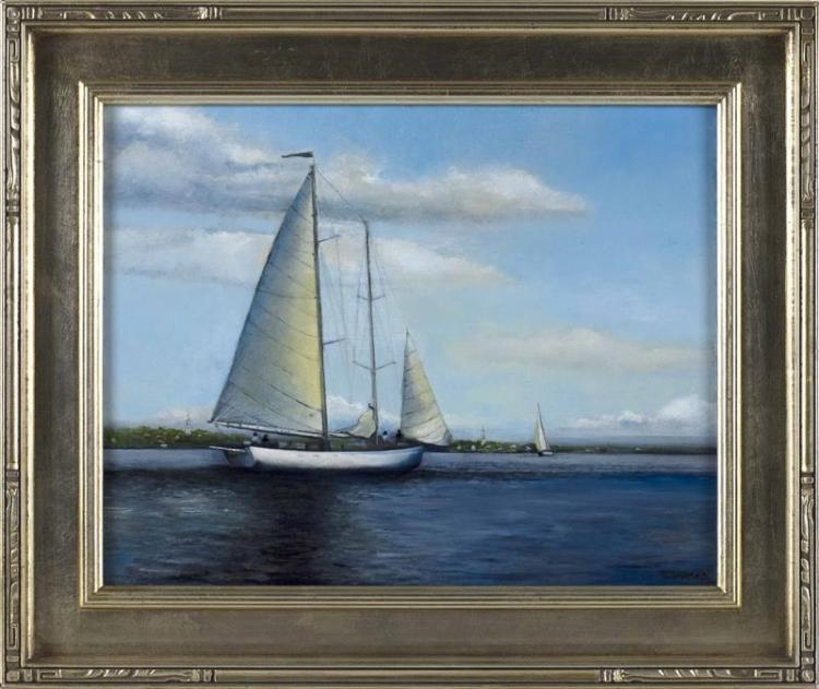 "YASEMIN KYRENA TOMAKAN, American/Turkish, b. 1958, ""Approaching Nantucket Harbor""., Oil on board, 11"" x 14"". Framed 15"" x 18""."