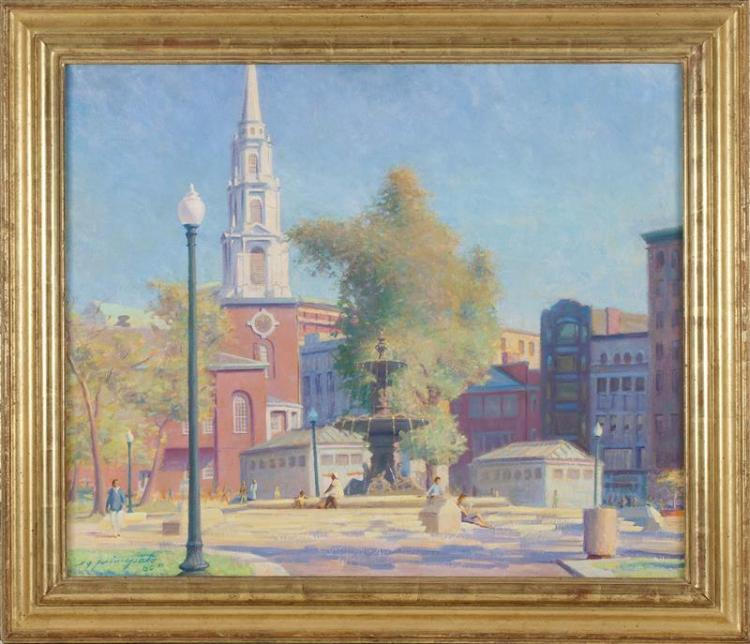 "ERNEST PRINCIPATO, Massachusetts, 20th Century, Park Street Church, Boston., Oil on canvas, 28"" x 32"". Framed 35"" x 39""."