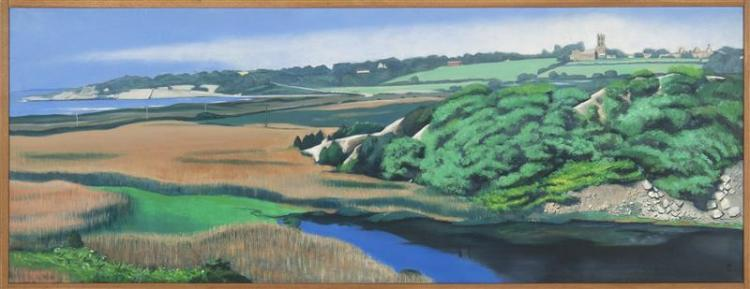 RON G. DABELLE, Rhode Island, Contemporary, A panoramic view of Saint George's School from Sachuest Point, Rhode Island., Oil on can..