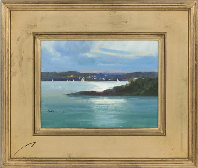 "JERRY CARON, American, Contemporary, ""Toward Jamestown"" (Rhode Island)., Oil on board, 9"" x 12"". Framed 16"" x 20""."